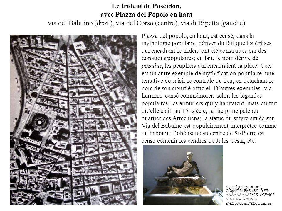 Le trident de Poséidon, avec Piazza del Popolo en haut via del Babuino (droit), via del Corso (centre), via di Ripetta (gauche)