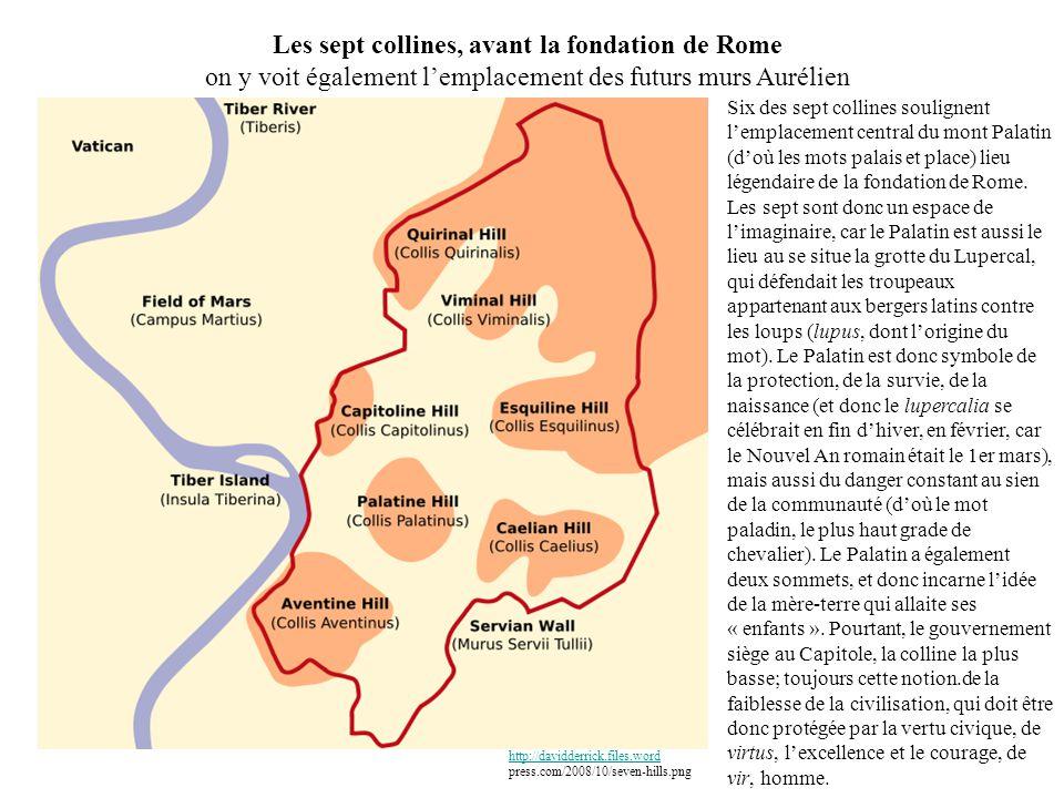 Les sept collines, avant la fondation de Rome on y voit également l'emplacement des futurs murs Aurélien