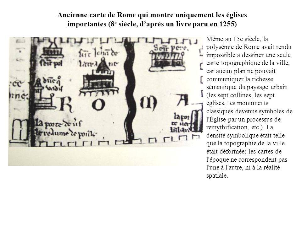 Ancienne carte de Rome qui montre uniquement les églises importantes (8e siècle, d'après un livre paru en 1255)