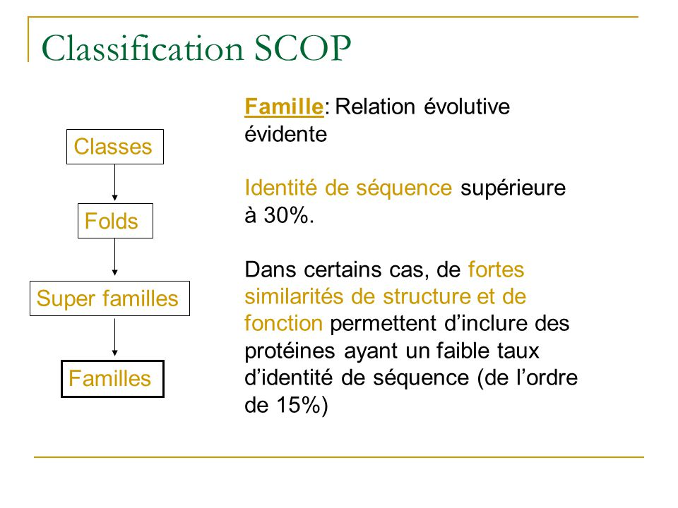 Classification SCOP Famille: Relation évolutive évidente Classes