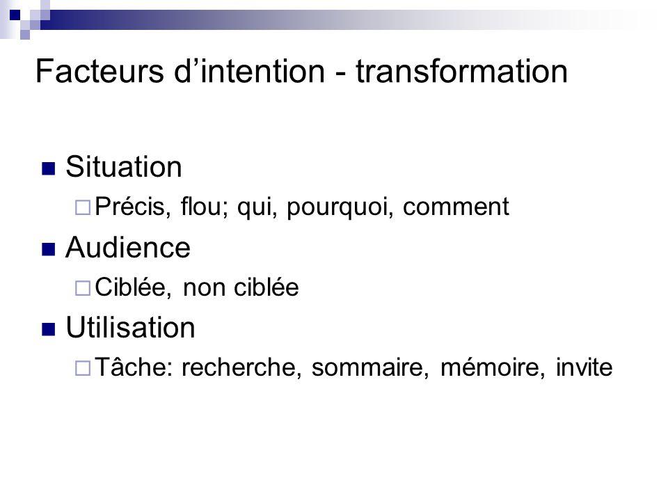 Facteurs d'intention - transformation