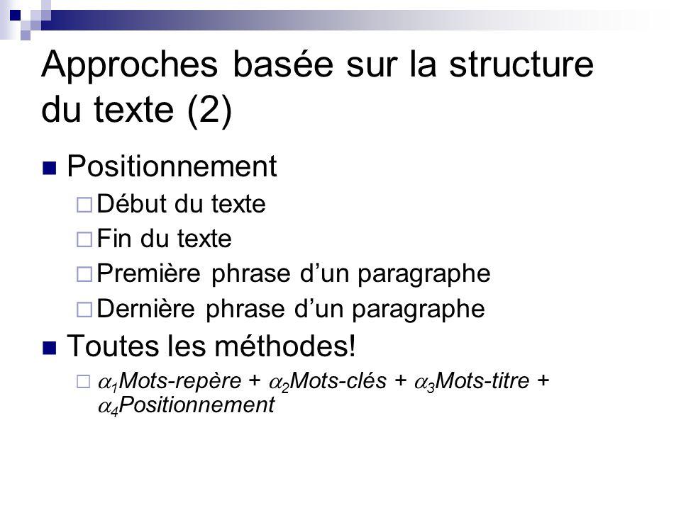 Approches basée sur la structure du texte (2)
