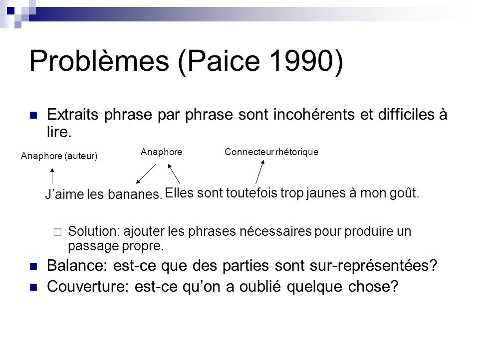 Problèmes (Paice 1990) Extraits phrase par phrase sont incohérents et difficiles à lire.