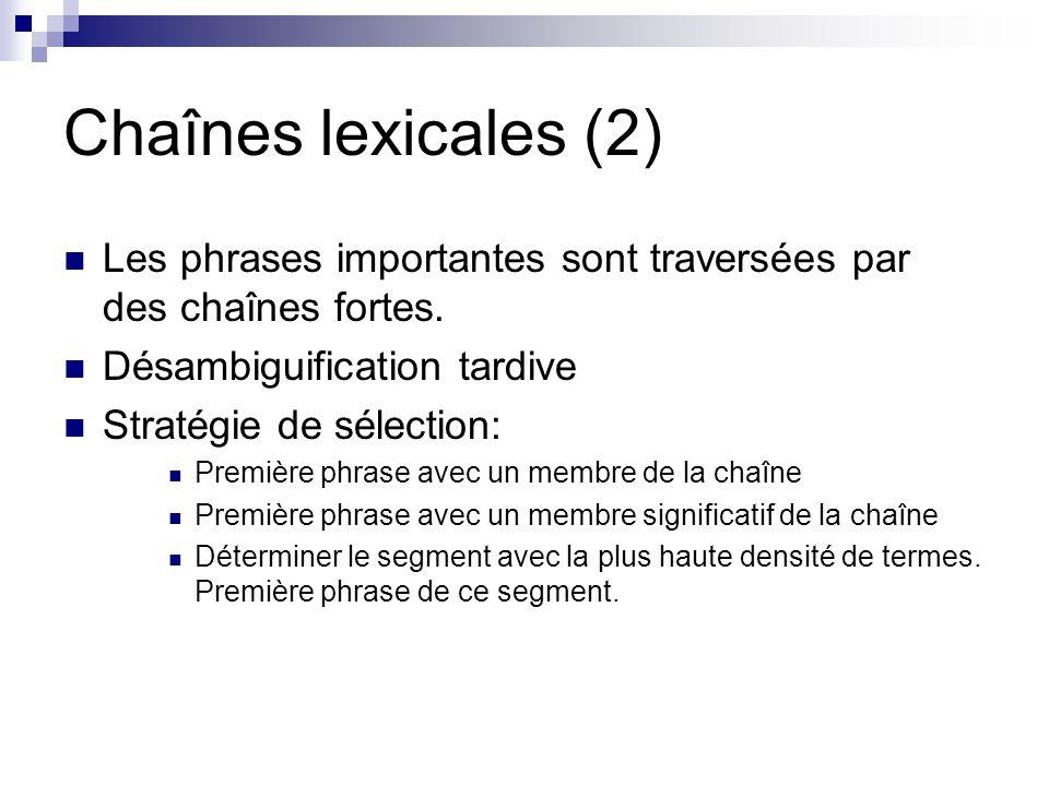 Chaînes lexicales (2) Les phrases importantes sont traversées par des chaînes fortes. Désambiguification tardive.