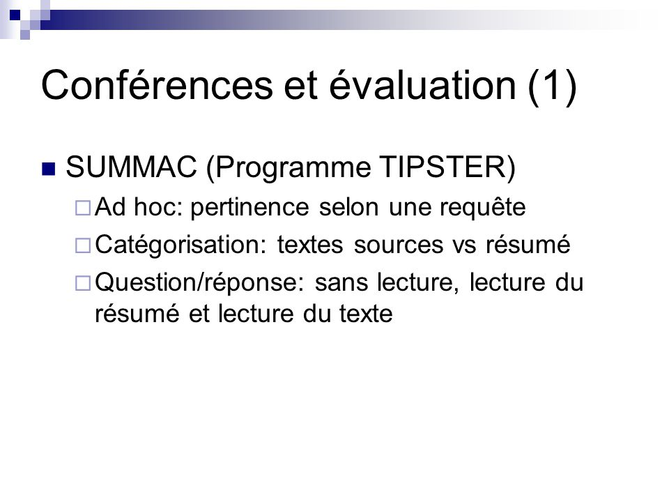 Conférences et évaluation (1)