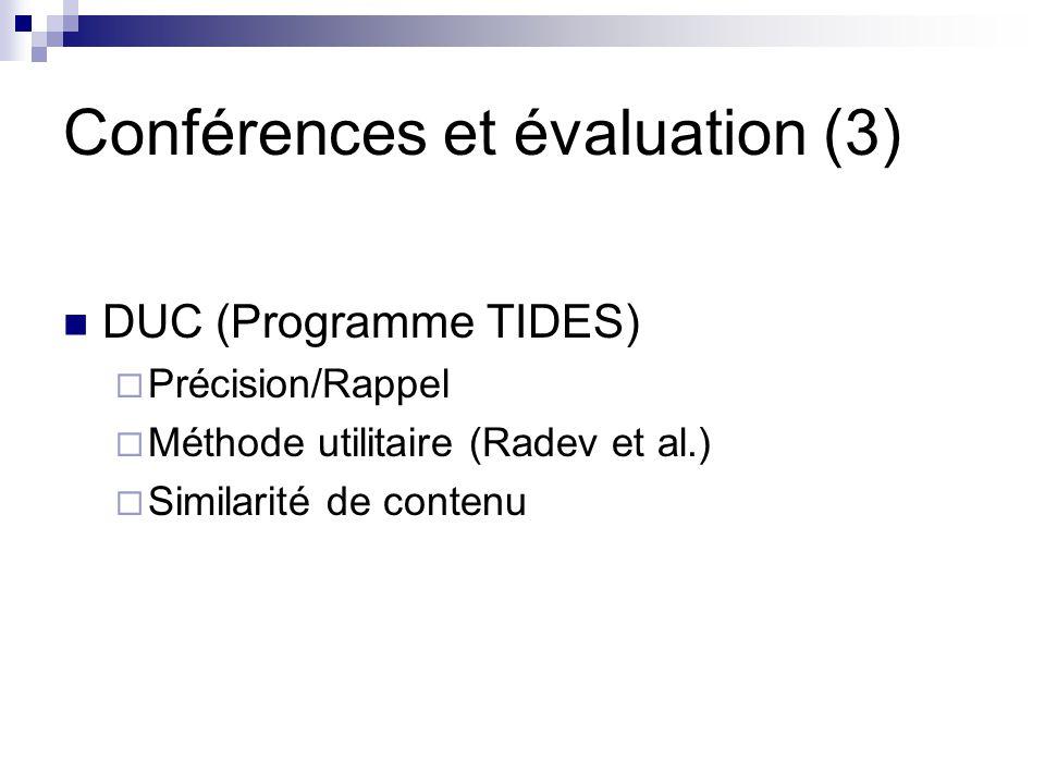 Conférences et évaluation (3)