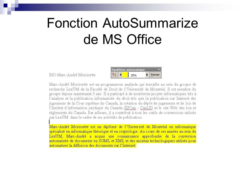 Fonction AutoSummarize de MS Office