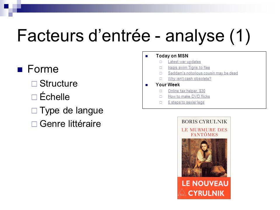 Facteurs d'entrée - analyse (1)