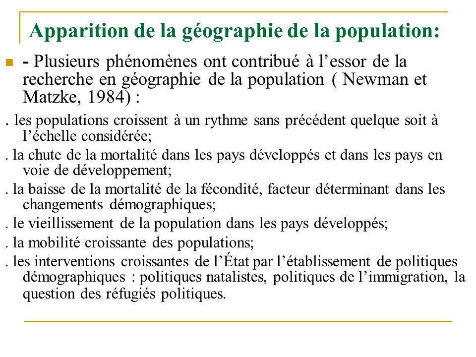 Apparition de la géographie de la population: