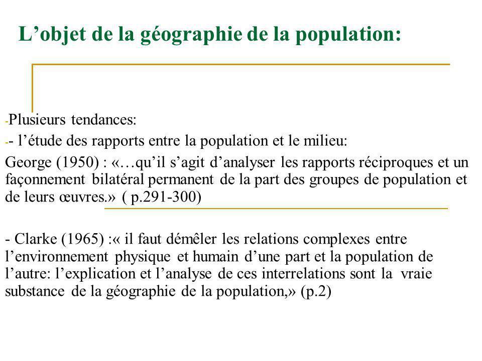 L'objet de la géographie de la population:
