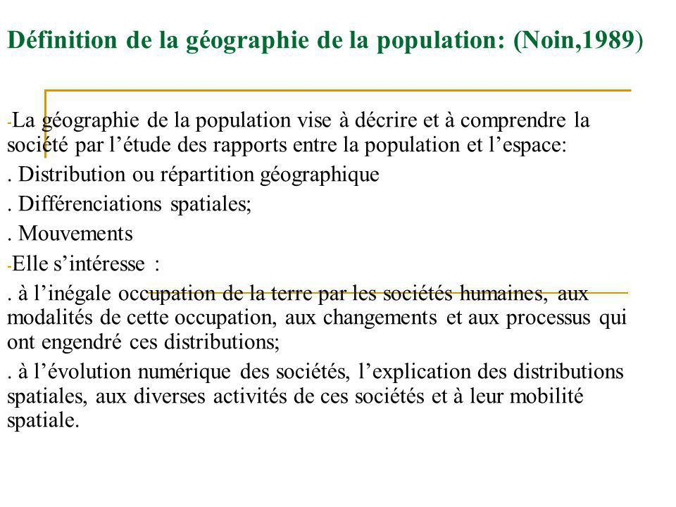 Définition de la géographie de la population: (Noin,1989)