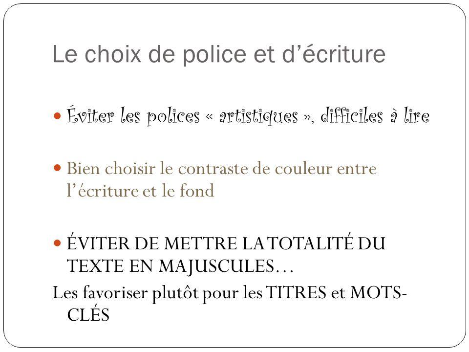 Le choix de police et d'écriture