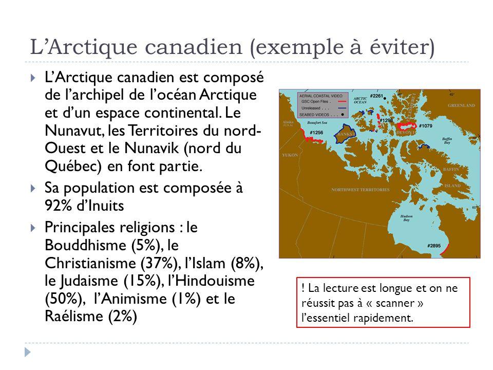 L'Arctique canadien (exemple à éviter)