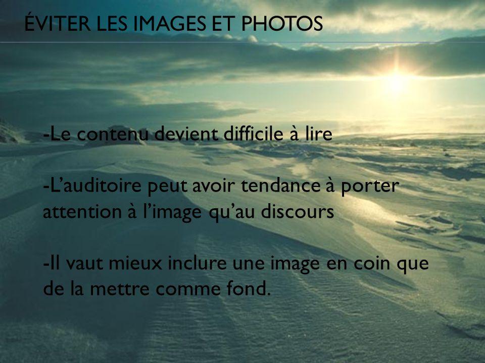 Éviter les images et photos