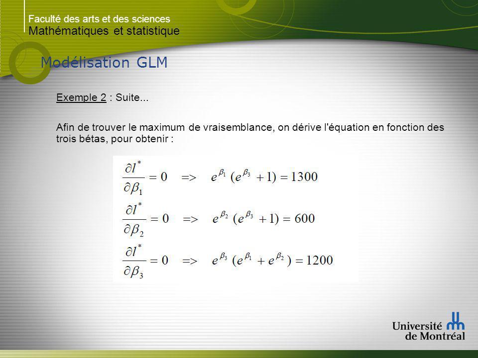 Modélisation GLM Mathématiques et statistique Exemple 2 : Suite...