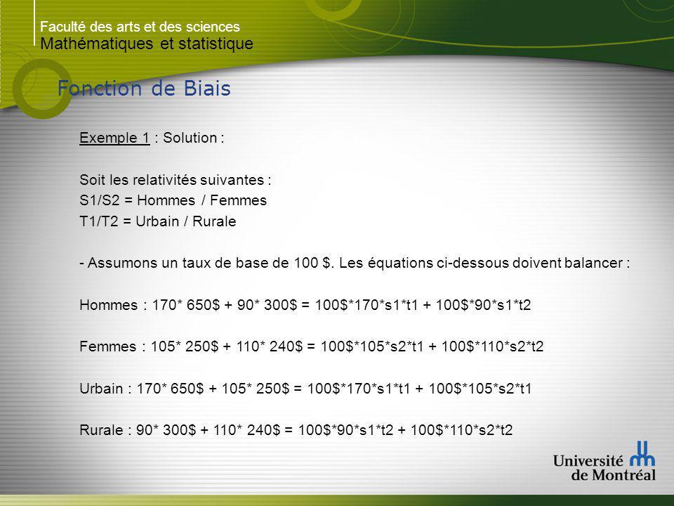 Fonction de Biais Mathématiques et statistique Exemple 1 : Solution :
