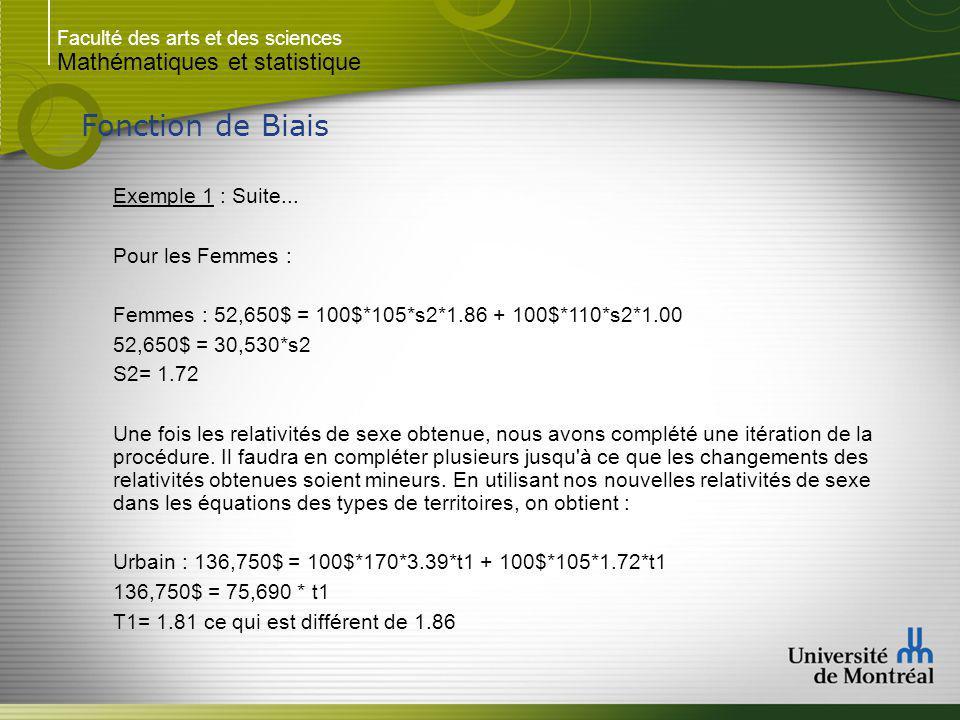 Fonction de Biais Mathématiques et statistique Exemple 1 : Suite...