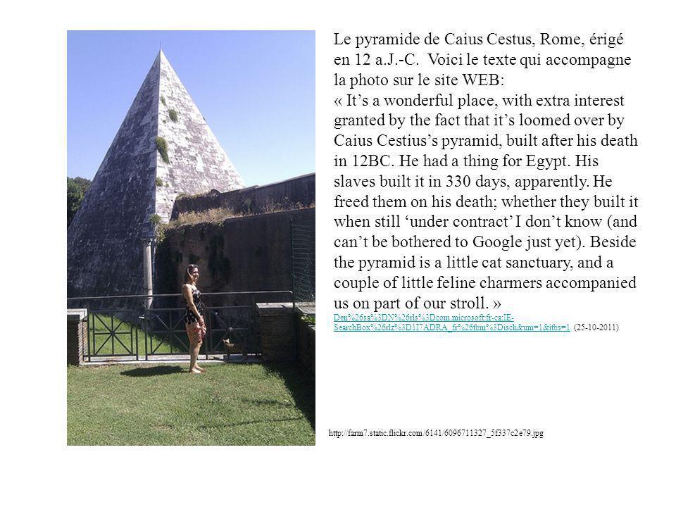Le pyramide de Caius Cestus, Rome, érigé en 12 a. J. -C