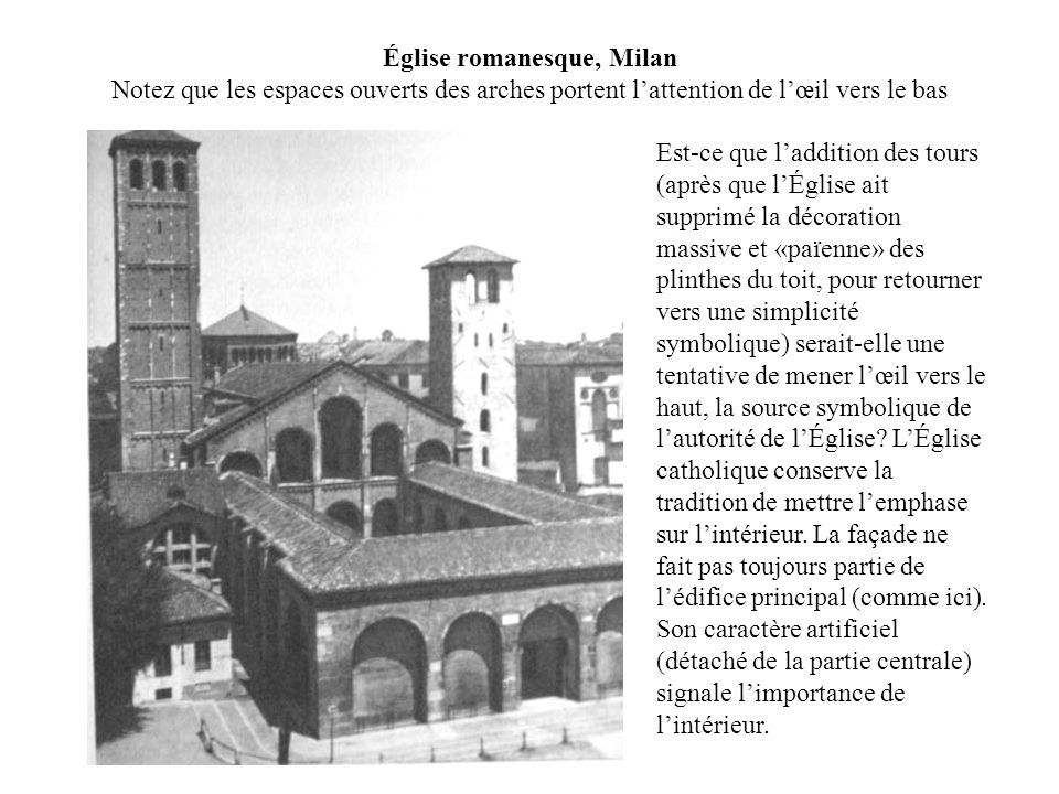 Église romanesque, Milan Notez que les espaces ouverts des arches portent l'attention de l'œil vers le bas