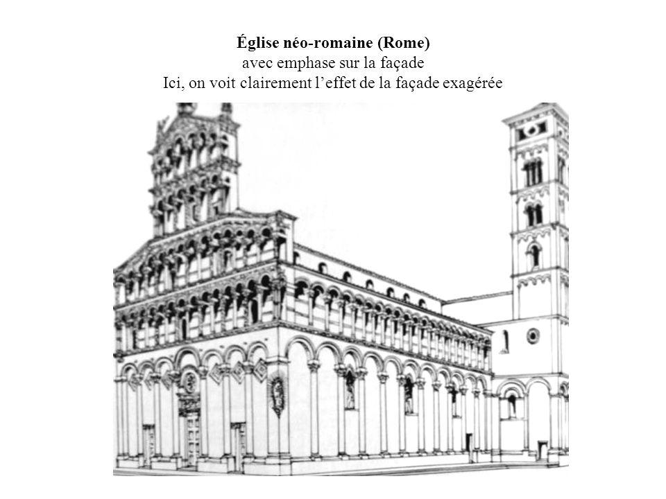 Église néo-romaine (Rome) avec emphase sur la façade Ici, on voit clairement l'effet de la façade exagérée