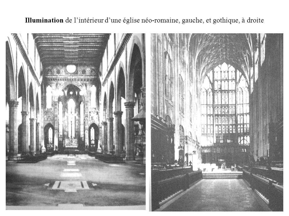 Illumination de l'intérieur d'une église néo-romaine, gauche, et gothique, à droite