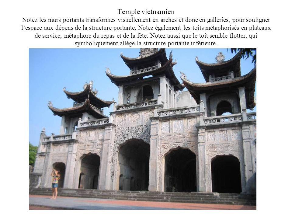 Temple vietnamien Notez les murs portants transformés visuellement en arches et donc en galléries, pour souligner l'espace aux dépens de la structure portante.