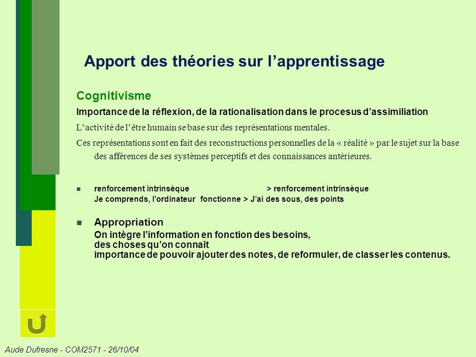 Apport des théories sur l'apprentissage