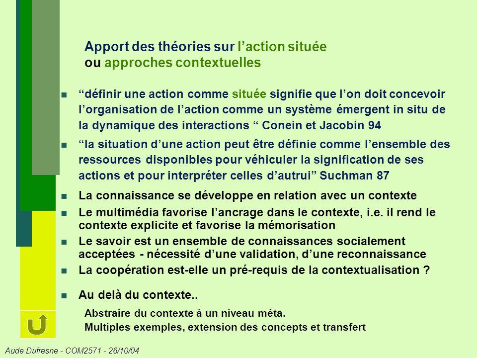 Apport des théories sur l'action située ou approches contextuelles