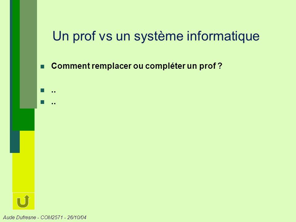 Un prof vs un système informatique