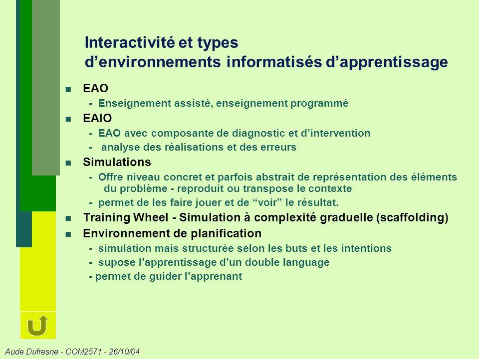 Interactivité et types d'environnements informatisés d'apprentissage