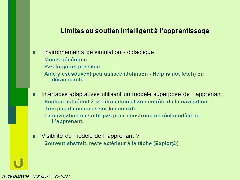 Limites au soutien intelligent à l'apprentissage