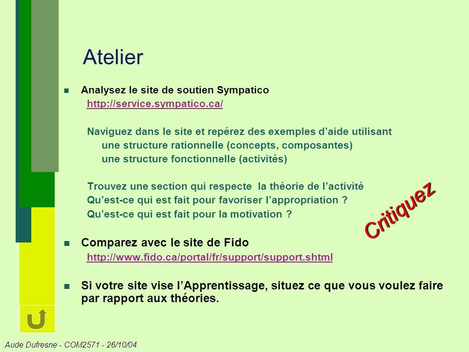 Atelier Critiquez Comparez avec le site de Fido