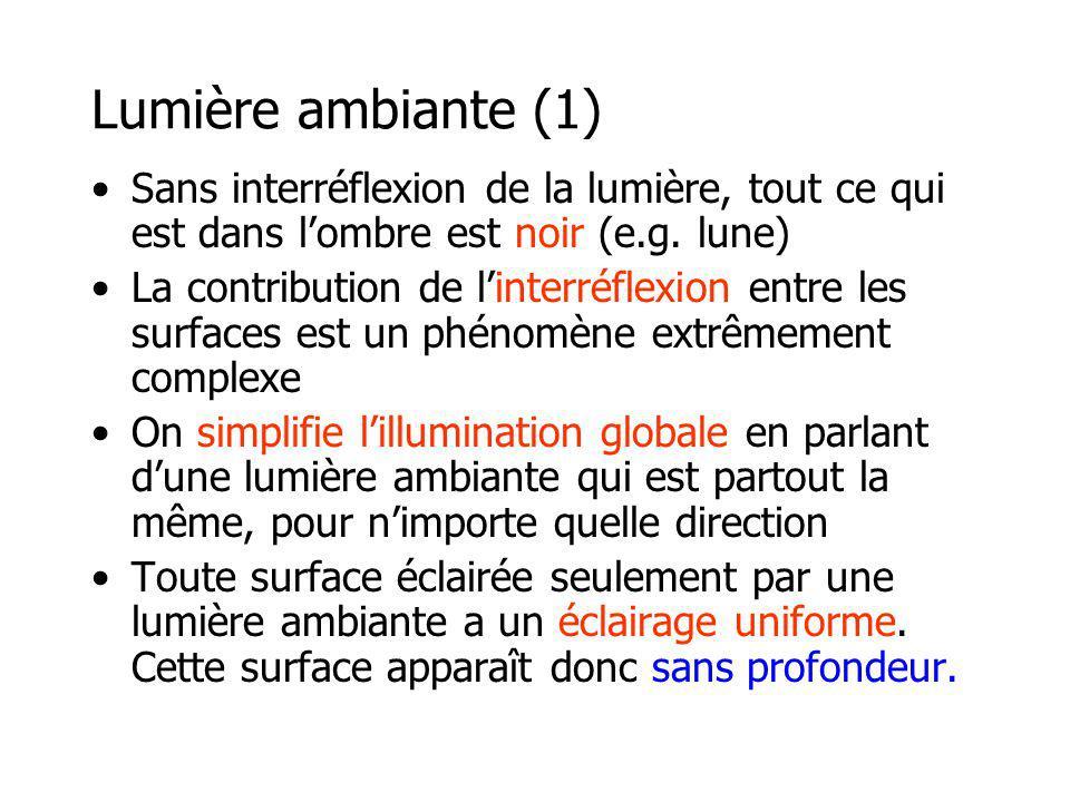 Lumière ambiante (1) Sans interréflexion de la lumière, tout ce qui est dans l'ombre est noir (e.g. lune)