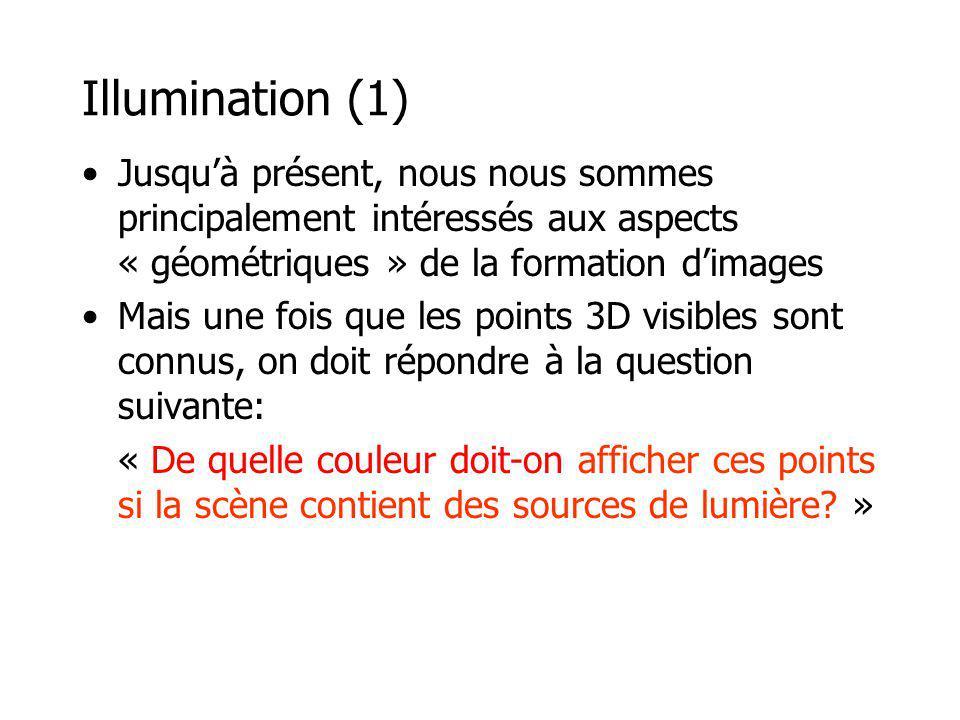 Illumination (1) Jusqu'à présent, nous nous sommes principalement intéressés aux aspects « géométriques » de la formation d'images.
