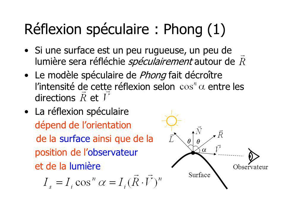 Réflexion spéculaire : Phong (1)