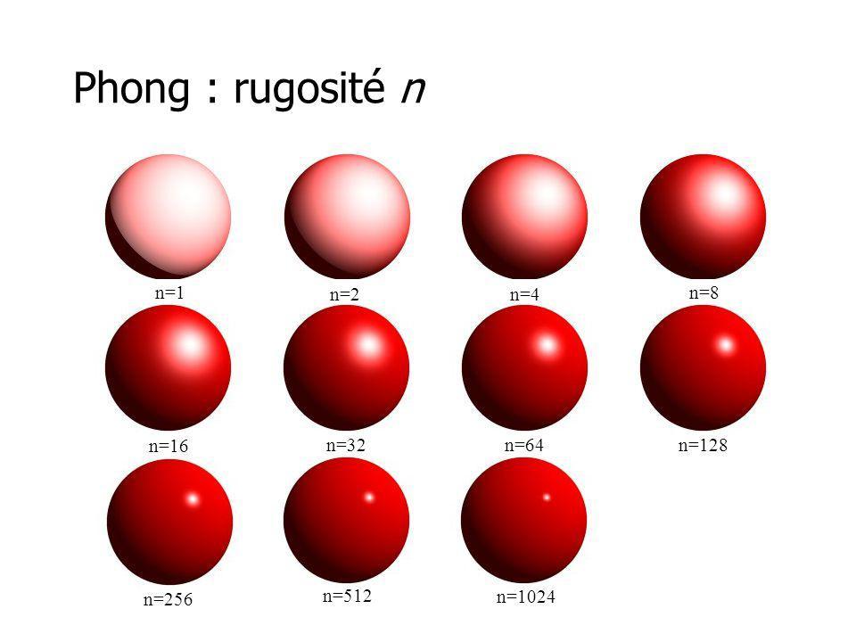 Phong : rugosité n n=1 n=2 n=4 n=8 n=16 n=32 n=64 n=128 n=256 n=512