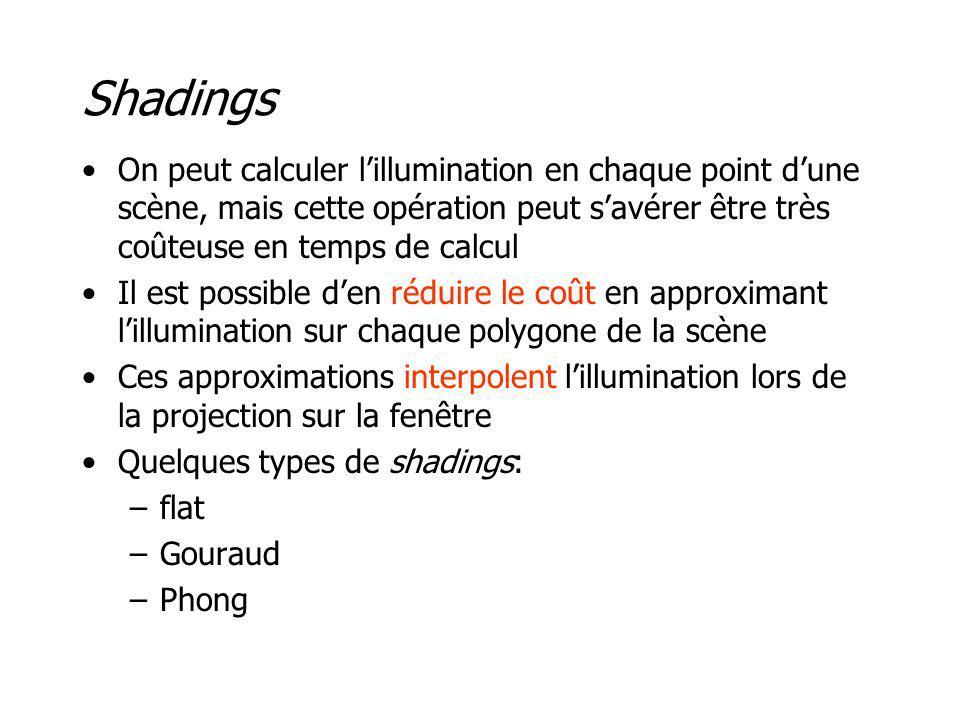 Shadings On peut calculer l'illumination en chaque point d'une scène, mais cette opération peut s'avérer être très coûteuse en temps de calcul.