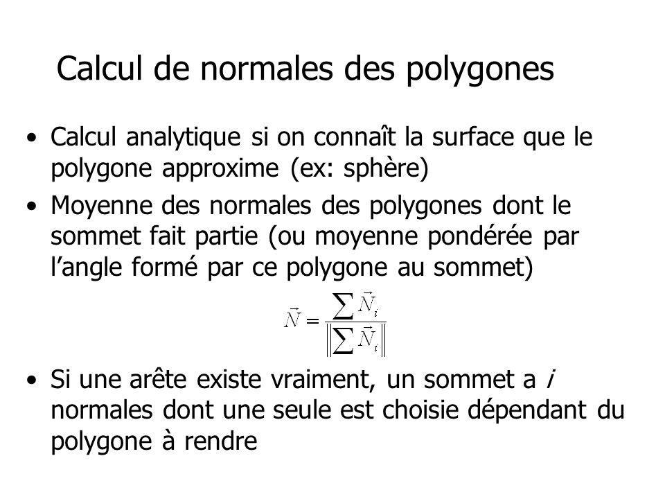 Calcul de normales des polygones