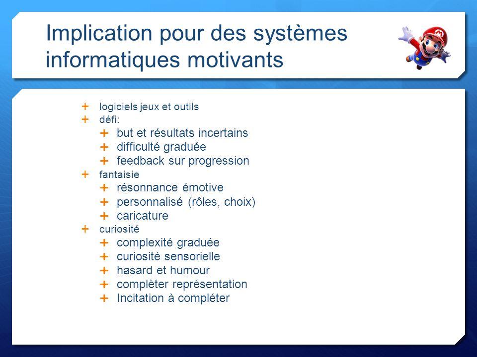 Implication pour des systèmes informatiques motivants