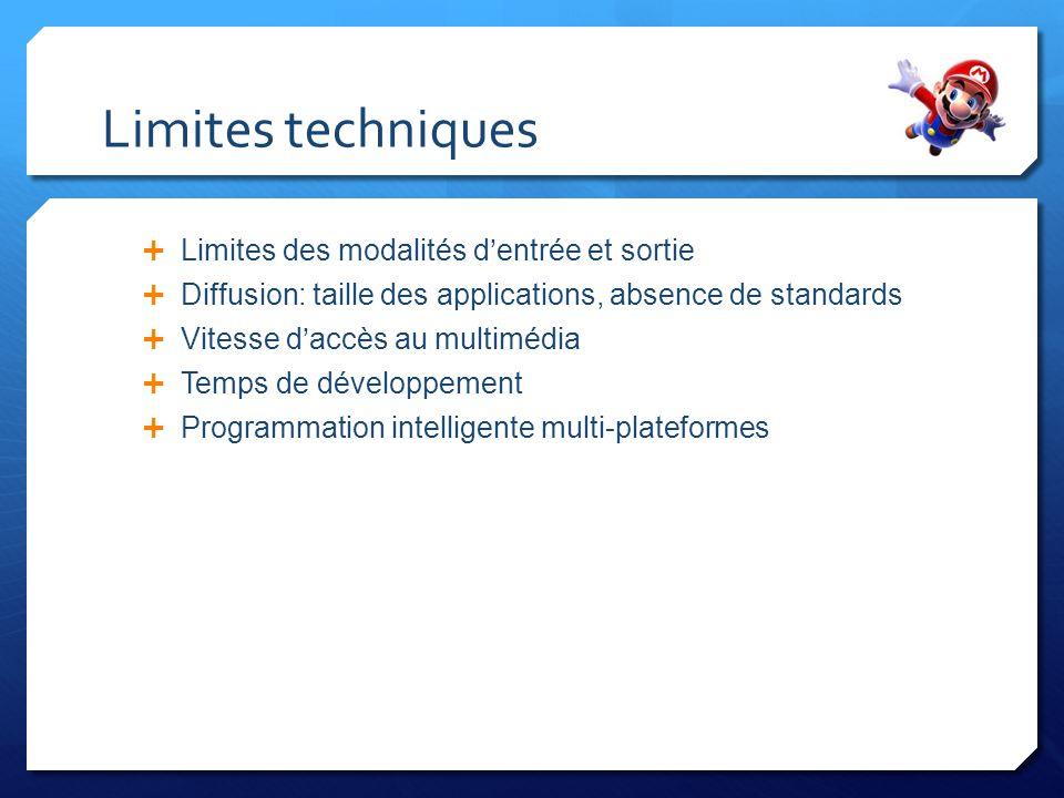 Limites techniques Limites des modalités d'entrée et sortie