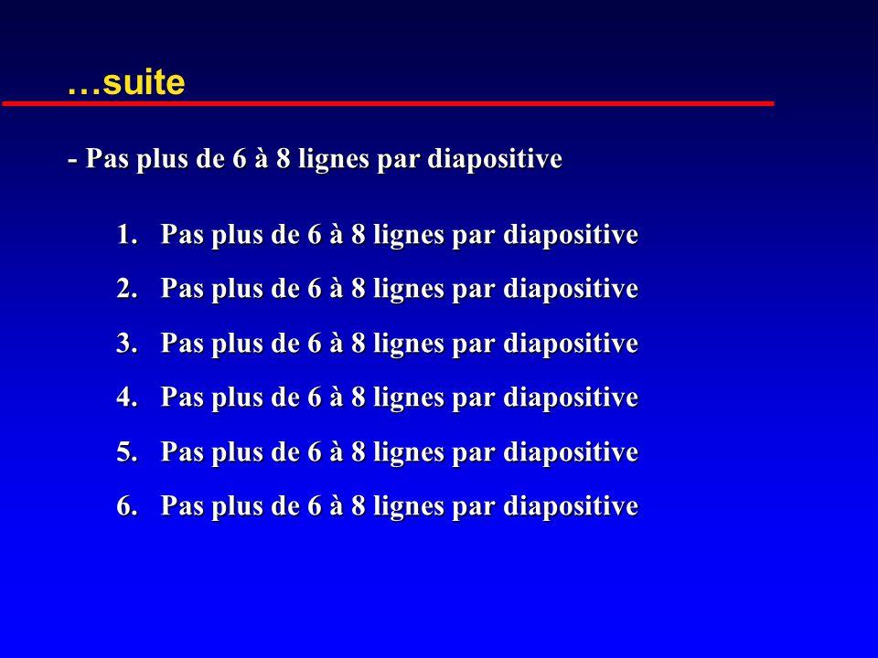…suite - Pas plus de 6 à 8 lignes par diapositive
