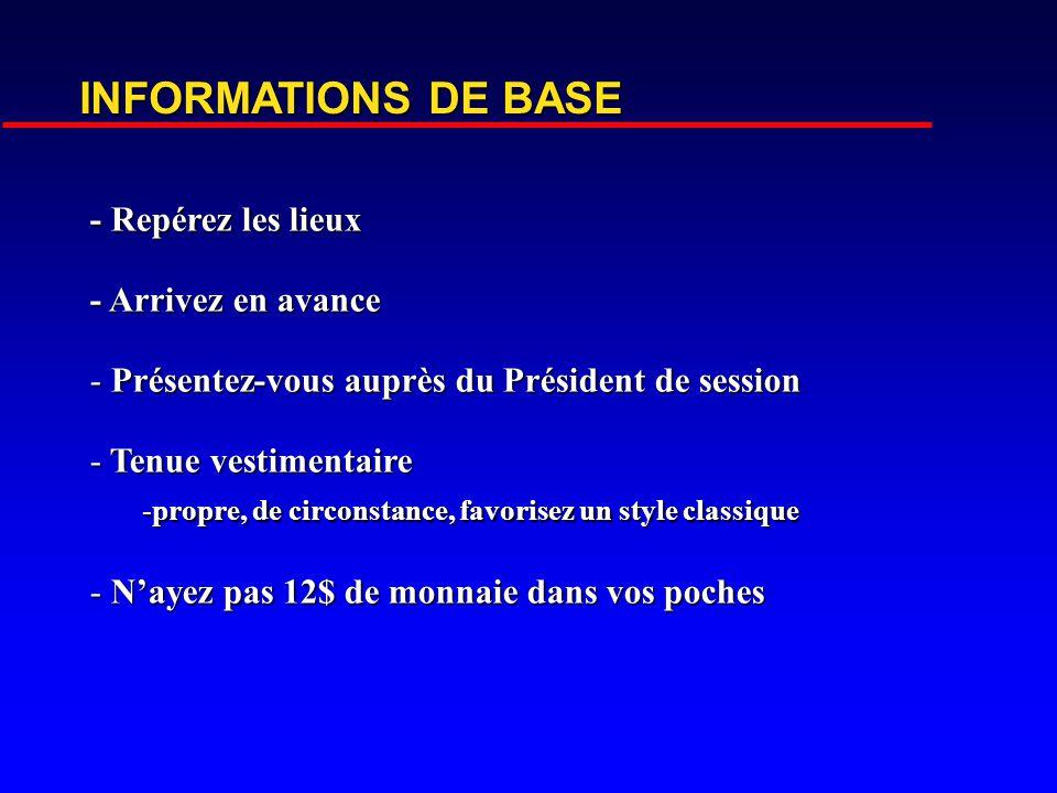 INFORMATIONS DE BASE - Repérez les lieux - Arrivez en avance