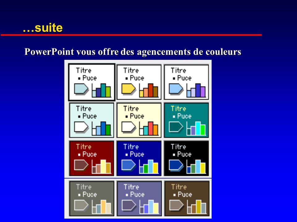 …suite PowerPoint vous offre des agencements de couleurs