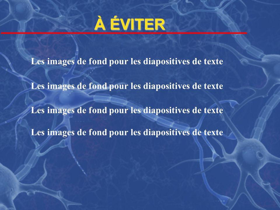 À ÉVITER Les images de fond pour les diapositives de texte