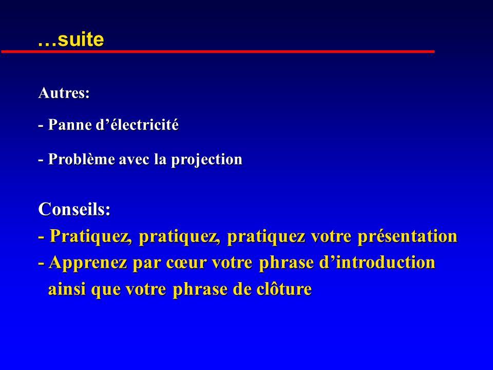 …suite Conseils: - Pratiquez, pratiquez, pratiquez votre présentation