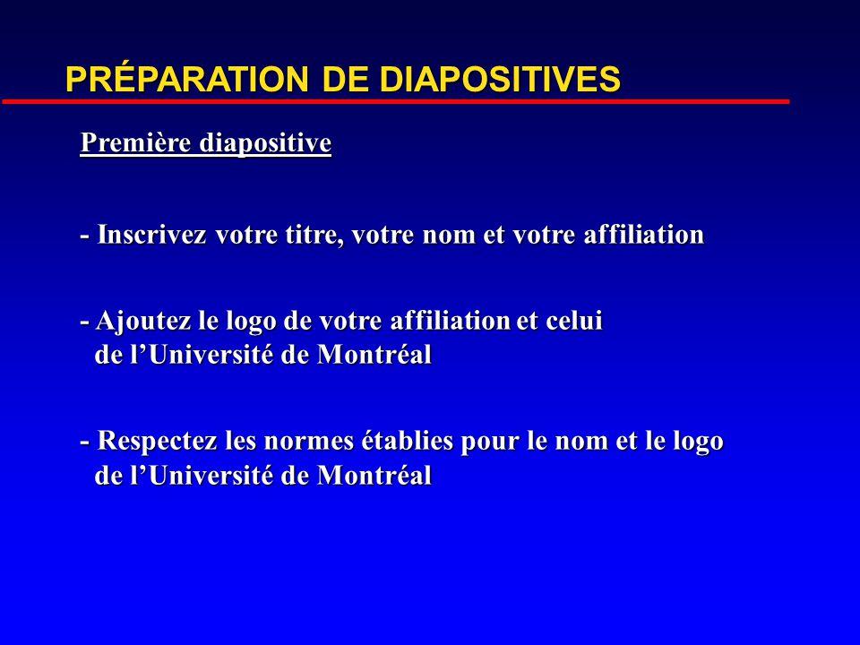 PRÉPARATION DE DIAPOSITIVES