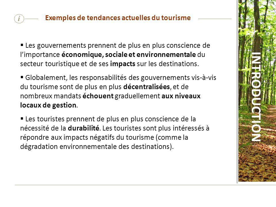 Exemples de tendances actuelles du tourisme