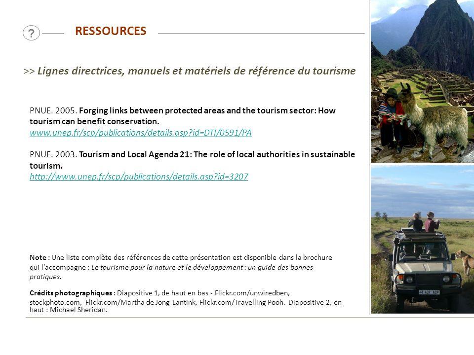 RESSOURCES. >> Lignes directrices, manuels et matériels de référence du tourisme.