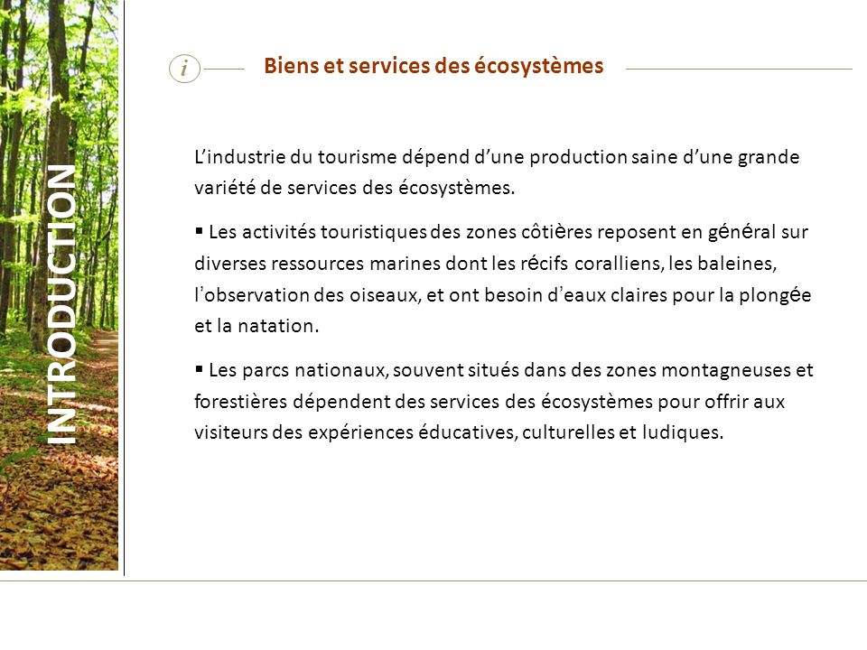 Biens et services des écosystèmes