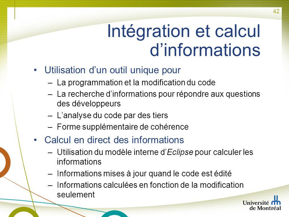 Intégration et calcul d'informations